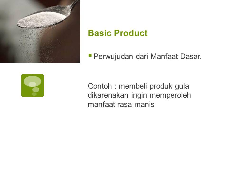 Basic Product  Perwujudan dari Manfaat Dasar. Contoh : membeli produk gula dikarenakan ingin memperoleh manfaat rasa manis