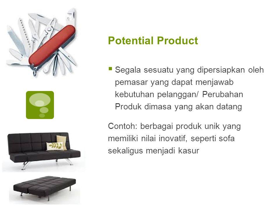 Potential Product  Segala sesuatu yang dipersiapkan oleh pemasar yang dapat menjawab kebutuhan pelanggan/ Perubahan Produk dimasa yang akan datang Co
