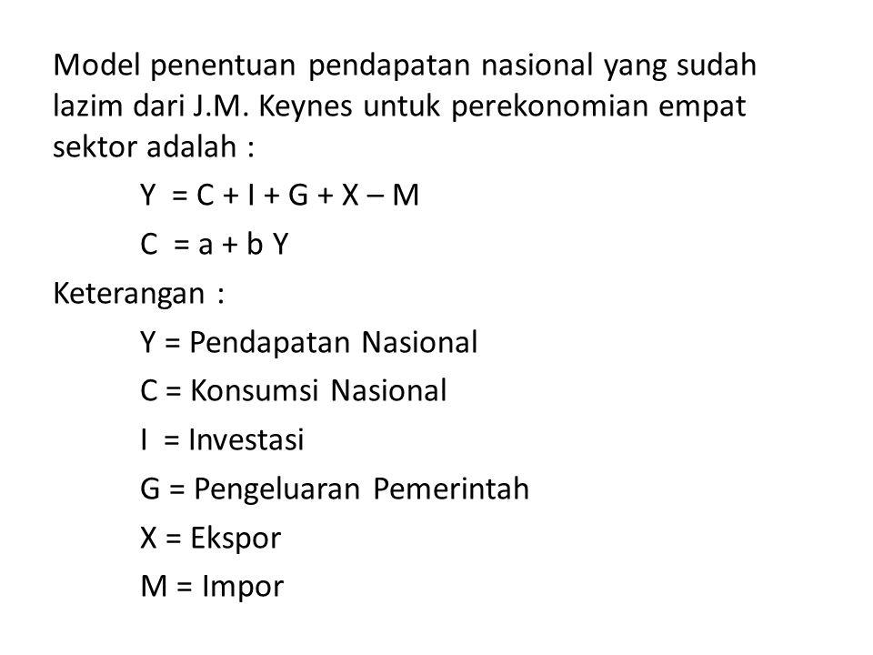 Model penentuan pendapatan nasional yang sudah lazim dari J.M. Keynes untuk perekonomian empat sektor adalah : Y = C + I + G + X – M C = a + b Y Keter