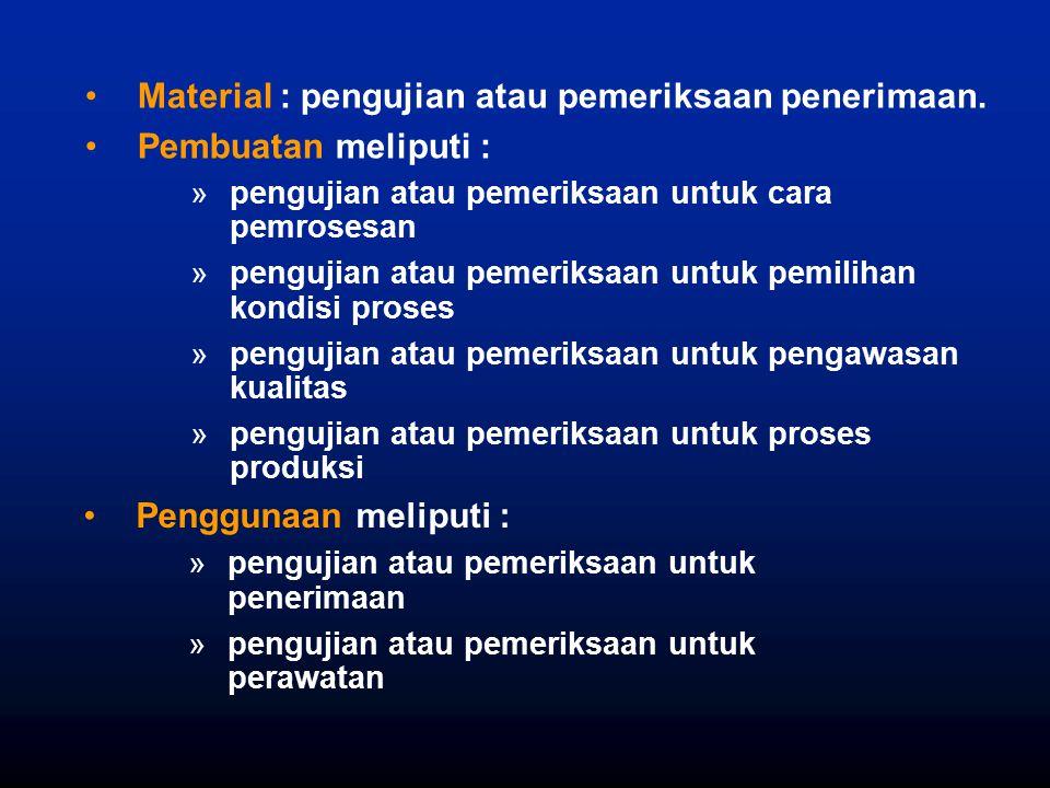 Penggunaan meliputi : »pengujian atau pemeriksaan untuk penerimaan »pengujian atau pemeriksaan untuk perawatan Material : pengujian atau pemeriksaan p