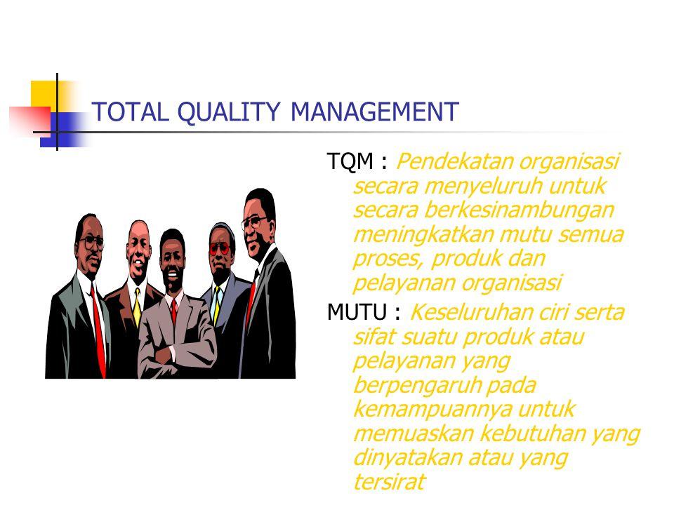 TOTAL QUALITY MANAGEMENT TQM : Pendekatan organisasi secara menyeluruh untuk secara berkesinambungan meningkatkan mutu semua proses, produk dan pelaya