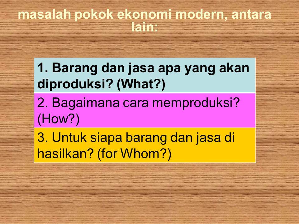 masalah pokok ekonomi modern, antara lain: k 1. Barang dan jasa apa yang akan diproduksi? (What?) 2. Bagaimana cara memproduksi? (How?) 3. Untuk siapa