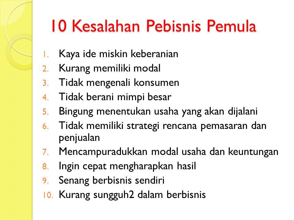 10 Kesalahan Pebisnis Pemula 1.Kaya ide miskin keberanian 2.