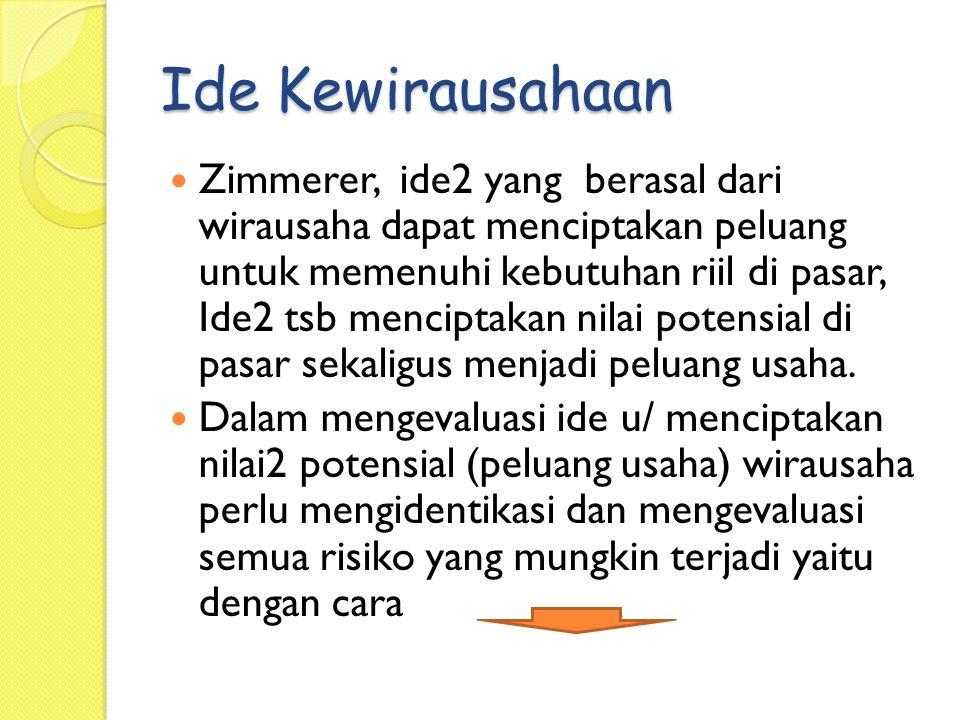 Zimmerer, ide2 yang berasal dari wirausaha dapat menciptakan peluang untuk memenuhi kebutuhan riil di pasar, Ide2 tsb menciptakan nilai potensial di p