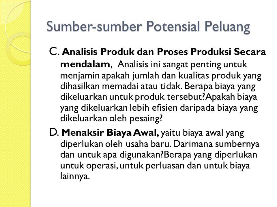 Sumber-sumber Potensial Peluang C.