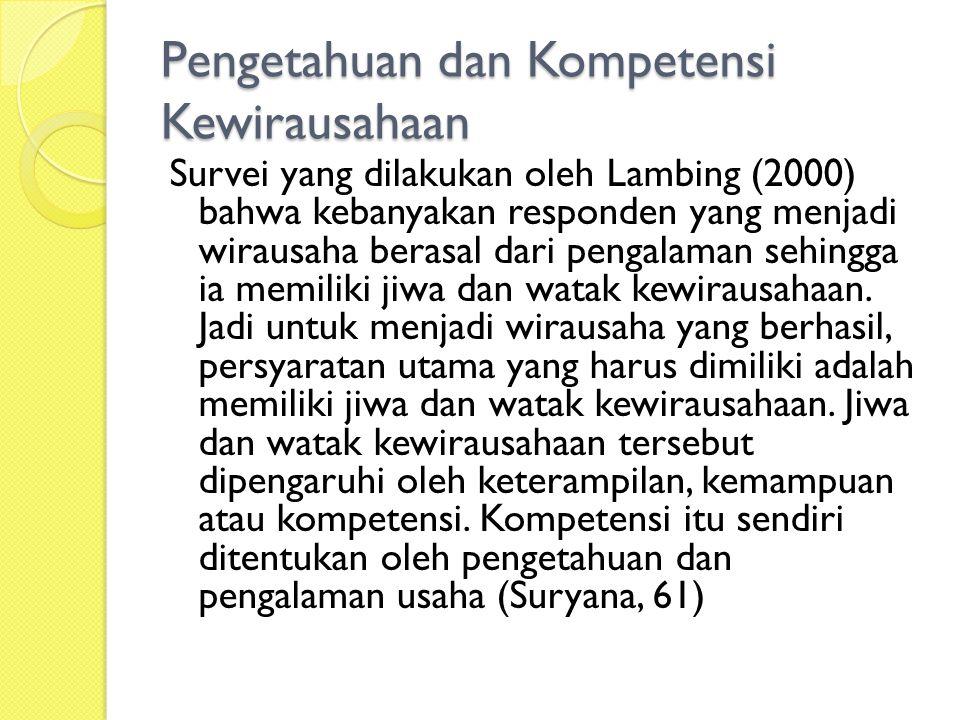 Pengetahuan dan Kompetensi Kewirausahaan Survei yang dilakukan oleh Lambing (2000) bahwa kebanyakan responden yang menjadi wirausaha berasal dari pengalaman sehingga ia memiliki jiwa dan watak kewirausahaan.