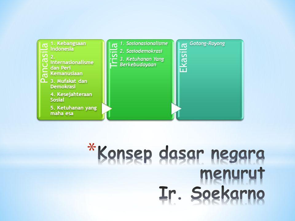 Pancasila 1.Kebangsaan Indonesia 2. Internasionalisme dan Peri Kemanusiaan 3.