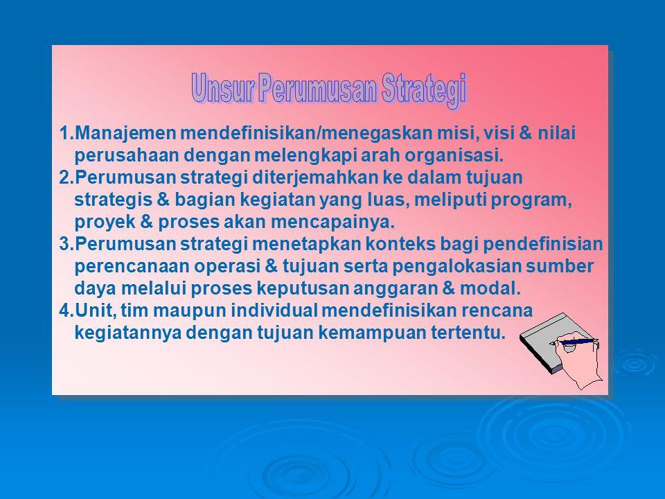 1.Manajemen mendefinisikan/menegaskan misi, visi & nilai perusahaan dengan melengkapi arah organisasi. 2.Perumusan strategi diterjemahkan ke dalam tuj