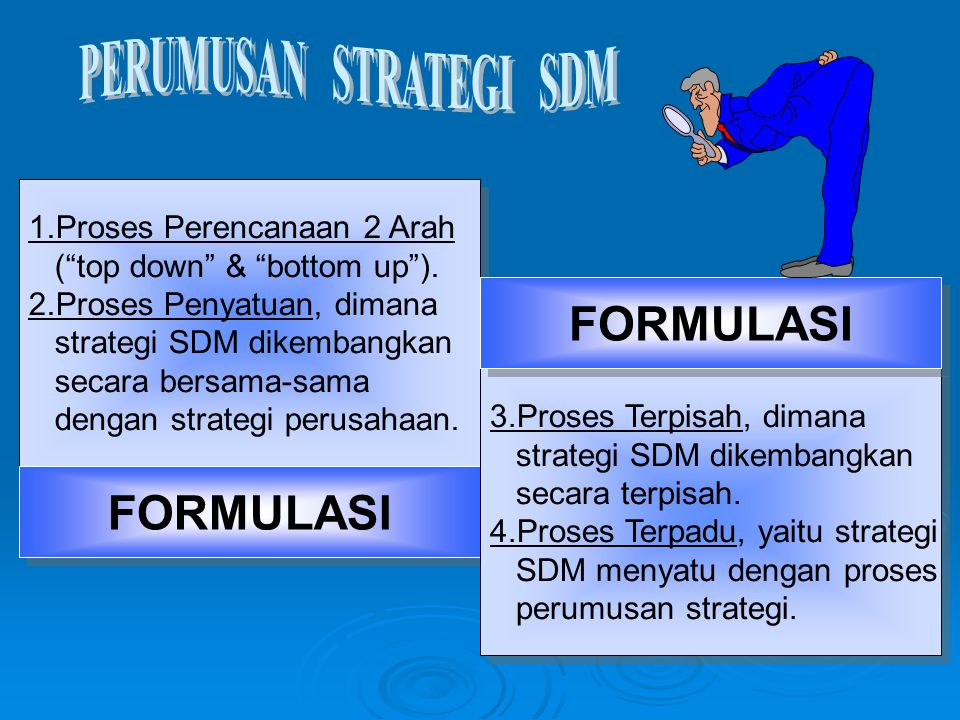 """1.Proses Perencanaan 2 Arah (""""top down"""" & """"bottom up""""). 2.Proses Penyatuan, dimana strategi SDM dikembangkan secara bersama-sama dengan strategi perus"""