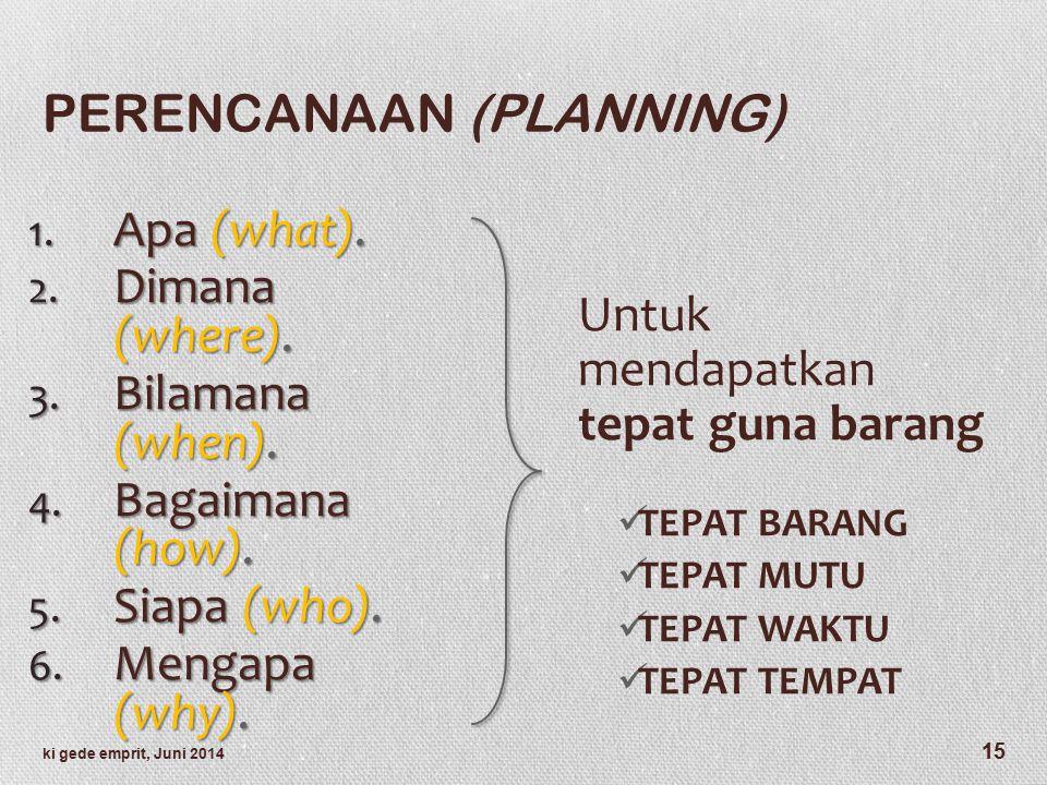 PERENCANAAN (PLANNING) 1.Apa (what). 2. Dimana (where).