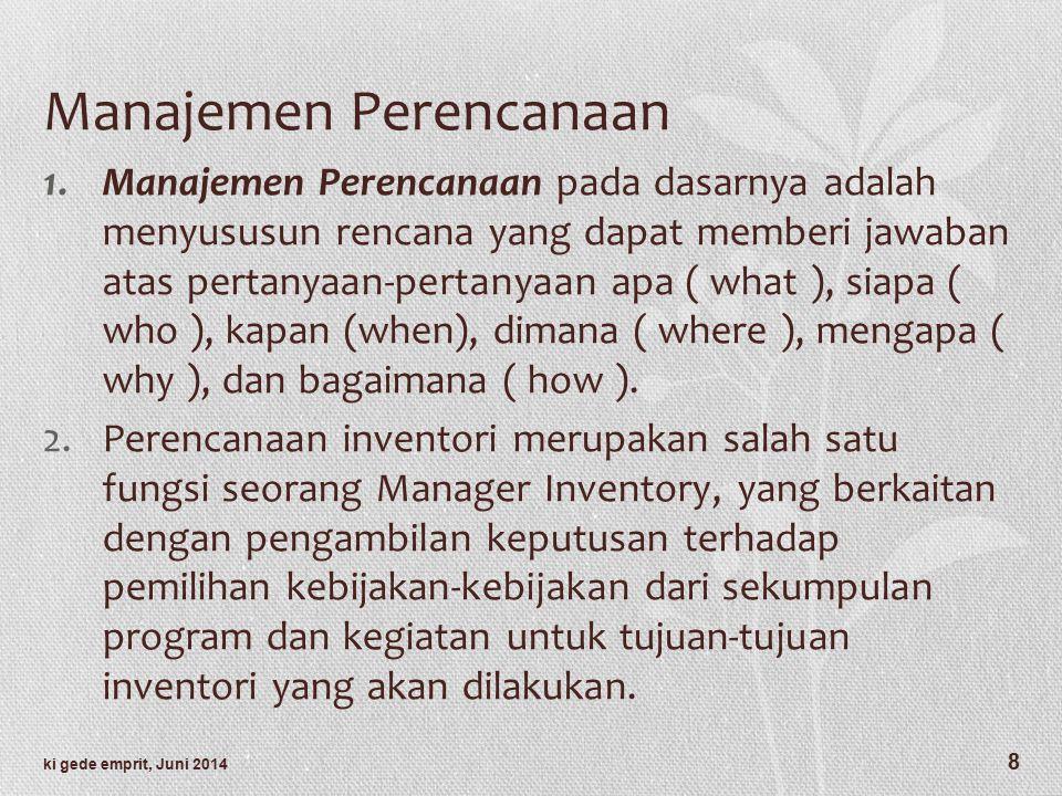 Manajemen Perencanaan 1.Manajemen Perencanaan pada dasarnya adalah menyususun rencana yang dapat memberi jawaban atas pertanyaan-pertanyaan apa ( what ), siapa ( who ), kapan (when), dimana ( where ), mengapa ( why ), dan bagaimana ( how ).