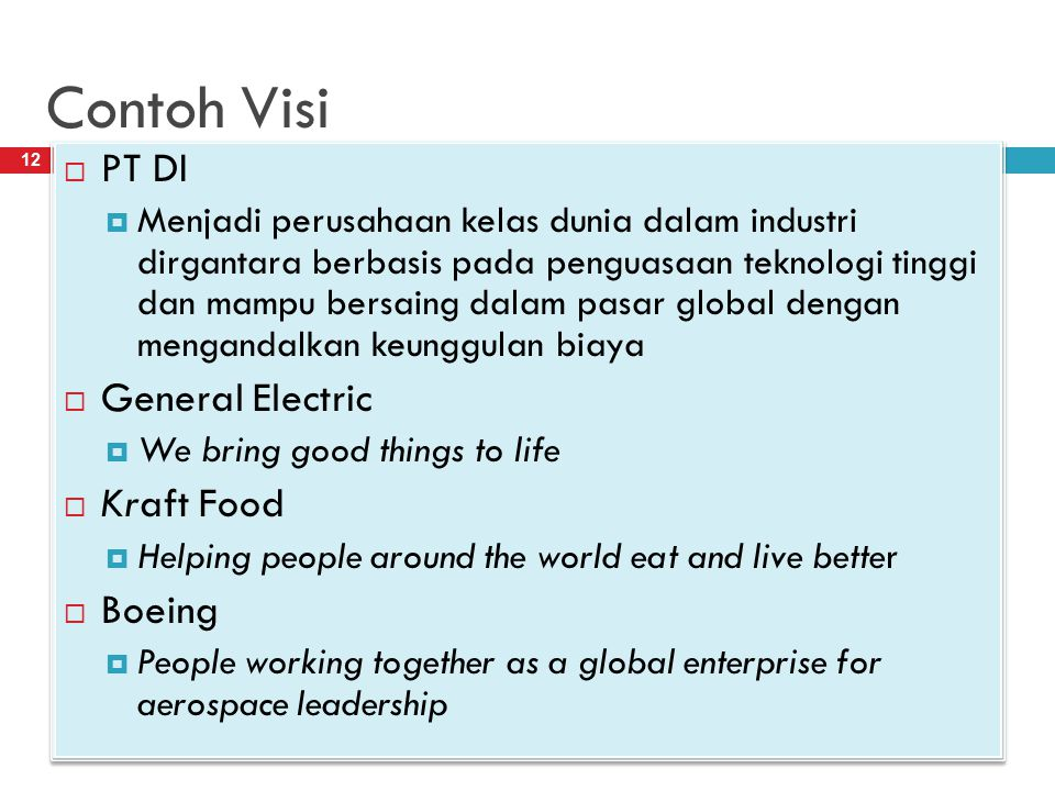 Contoh Visi 4/20/2013Resista Vikaliana, S.Si. MM 12  PT DI  Menjadi perusahaan kelas dunia dalam industri dirgantara berbasis pada penguasaan teknol