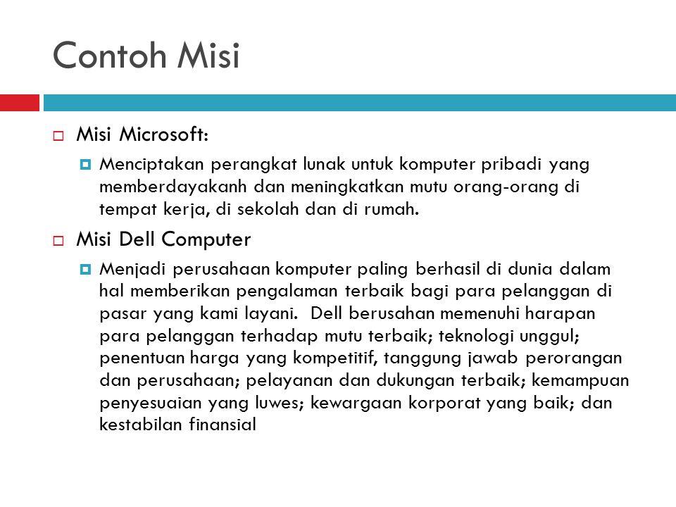 Contoh Misi  Misi Microsoft:  Menciptakan perangkat lunak untuk komputer pribadi yang memberdayakanh dan meningkatkan mutu orang-orang di tempat ker