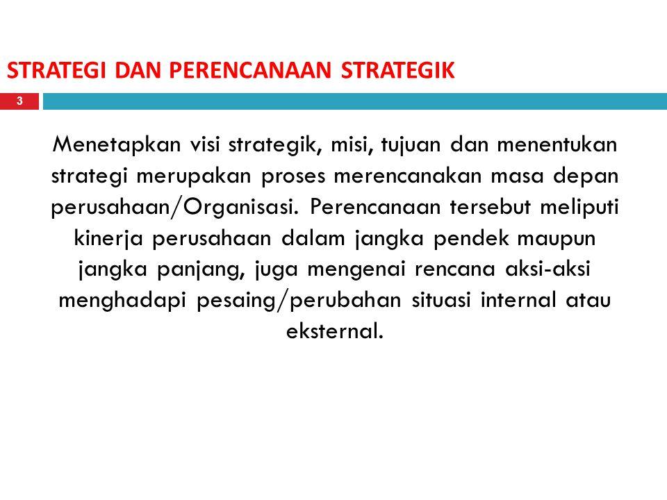 STRATEGI DAN PERENCANAAN STRATEGIK Menetapkan visi strategik, misi, tujuan dan menentukan strategi merupakan proses merencanakan masa depan perusahaan