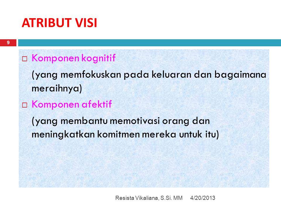ATRIBUT VISI 4/20/2013Resista Vikaliana, S.Si. MM 9  Komponen kognitif (yang memfokuskan pada keluaran dan bagaimana meraihnya)  Komponen afektif (y