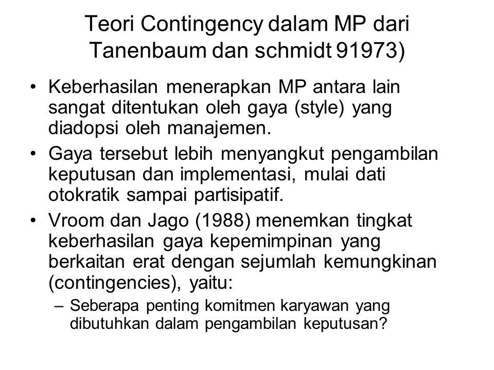 Teori Contingency dalam MP dari Tanenbaum dan schmidt 91973) Keberhasilan menerapkan MP antara lain sangat ditentukan oleh gaya (style) yang diadopsi oleh manajemen.