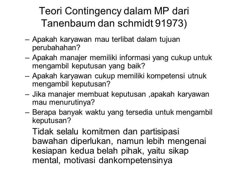 Teori Contingency dalam MP dari Tanenbaum dan schmidt 91973) –Apakah karyawan mau terlibat dalam tujuan perubahahan.