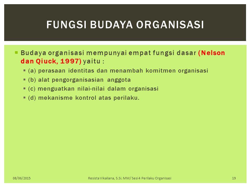  Budaya organisasi mempunyai empat fungsi dasar (Nelson dan Qiuck, 1997) yaitu :  (a) perasaan identitas dan menambah komitmen organisasi  (b) alat