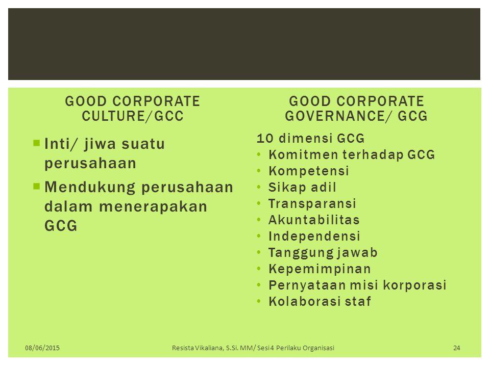 GOOD CORPORATE CULTURE/GCC  Inti/ jiwa suatu perusahaan  Mendukung perusahaan dalam menerapakan GCG GOOD CORPORATE GOVERNANCE/ GCG 10 dimensi GCG Ko