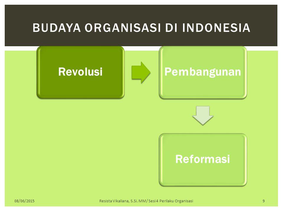 RevolusiPembangunanReformasi 08/06/2015Resista Vikaliana, S.Si. MM/ Sesi 4 Perilaku Organisasi 9 BUDAYA ORGANISASI DI INDONESIA
