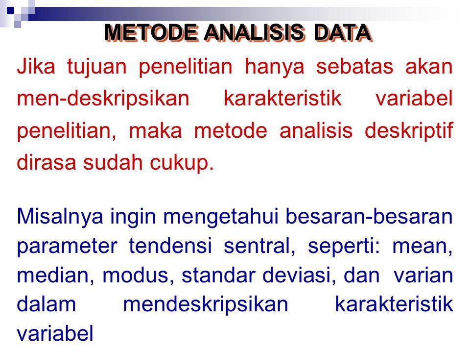METODE ANALISIS DATA Dua metode analisis yang dapat dipertimbangkan dalam analisis data (kuantitatif) adalah : (1) metode analisis deskriptif (2) metode analisis inferensial Pemilihan metode analisis mana yang akan digunakan sangat bergantung pada tujuan penelitian