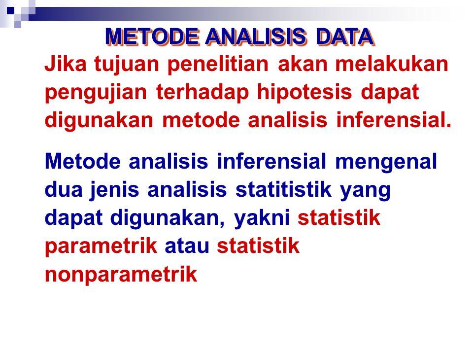 METODE ANALISIS DATA Jika tujuan penelitian hanya sebatas akan men-deskripsikan karakteristik variabel penelitian, maka metode analisis deskriptif dirasa sudah cukup.