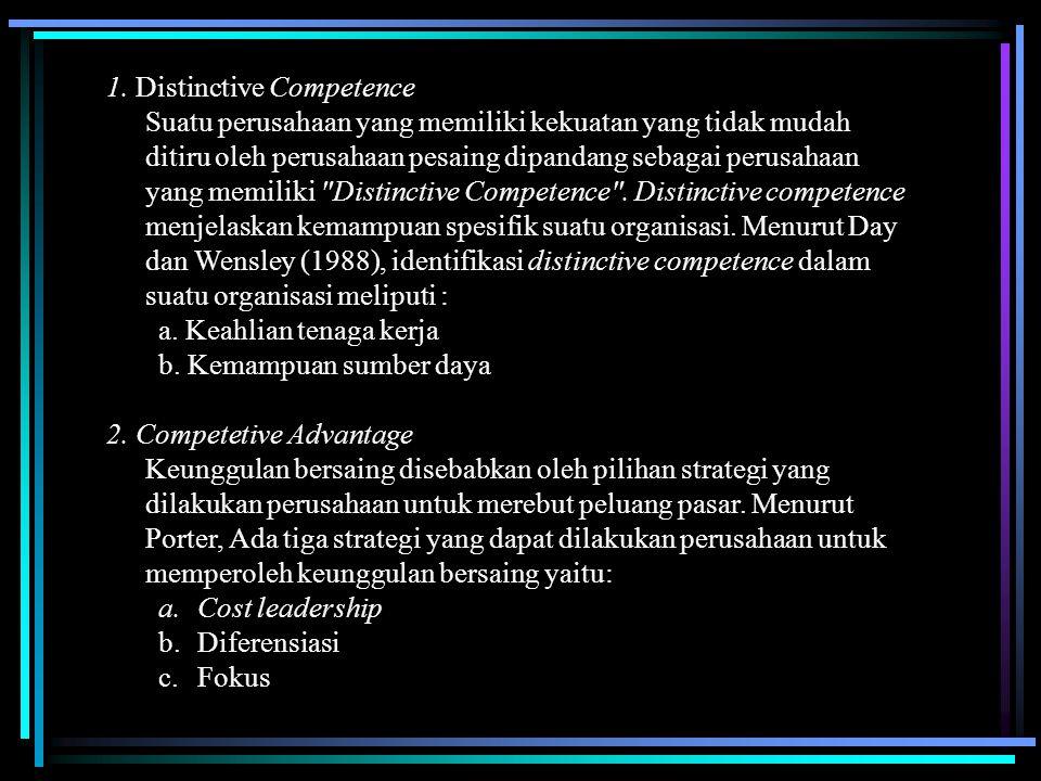 1. Distinctive Competence Suatu perusahaan yang memiliki kekuatan yang tidak mudah ditiru oleh perusahaan pesaing dipandang sebagai perusahaan yang me