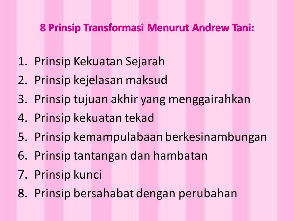 1.Prinsip Kekuatan Sejarah 2.Prinsip kejelasan maksud 3.Prinsip tujuan akhir yang menggairahkan 4.Prinsip kekuatan tekad 5.Prinsip kemampulabaan berkesinambungan 6.Prinsip tantangan dan hambatan 7.Prinsip kunci 8.Prinsip bersahabat dengan perubahan