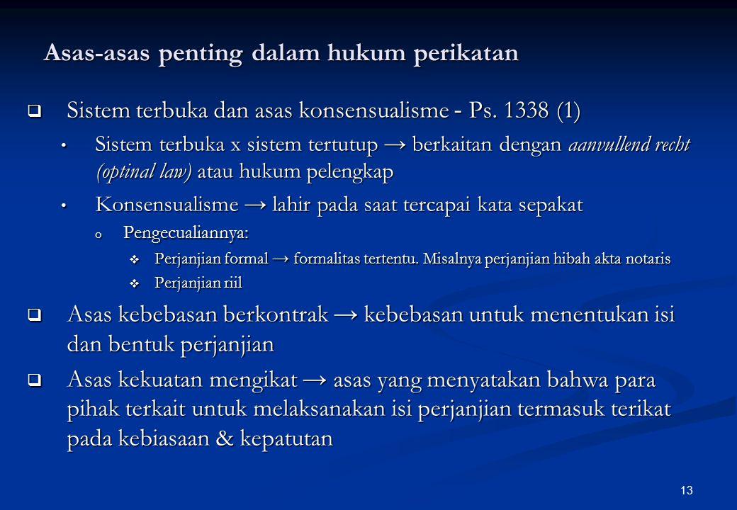 13 Asas-asas penting dalam hukum perikatan  Sistem terbuka dan asas konsensualisme - Ps.