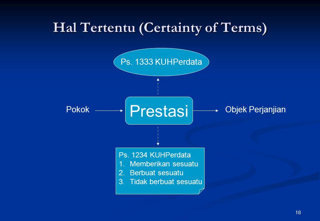 18 Hal Tertentu (Certainty of Terms) Ps.1333 KUHPerdata Prestasi Ps.