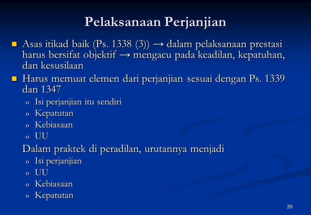 20 Pelaksanaan Perjanjian Asas itikad baik (Ps.