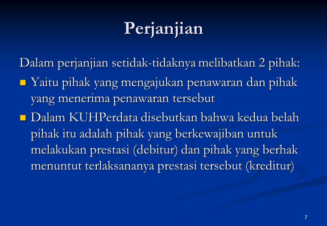 8 Sumber Perikatan Kongret Kongret Peristiwa hukum Perjanjian (1313) UU saja UU1354, 1359 Halal Krn Prb Man.