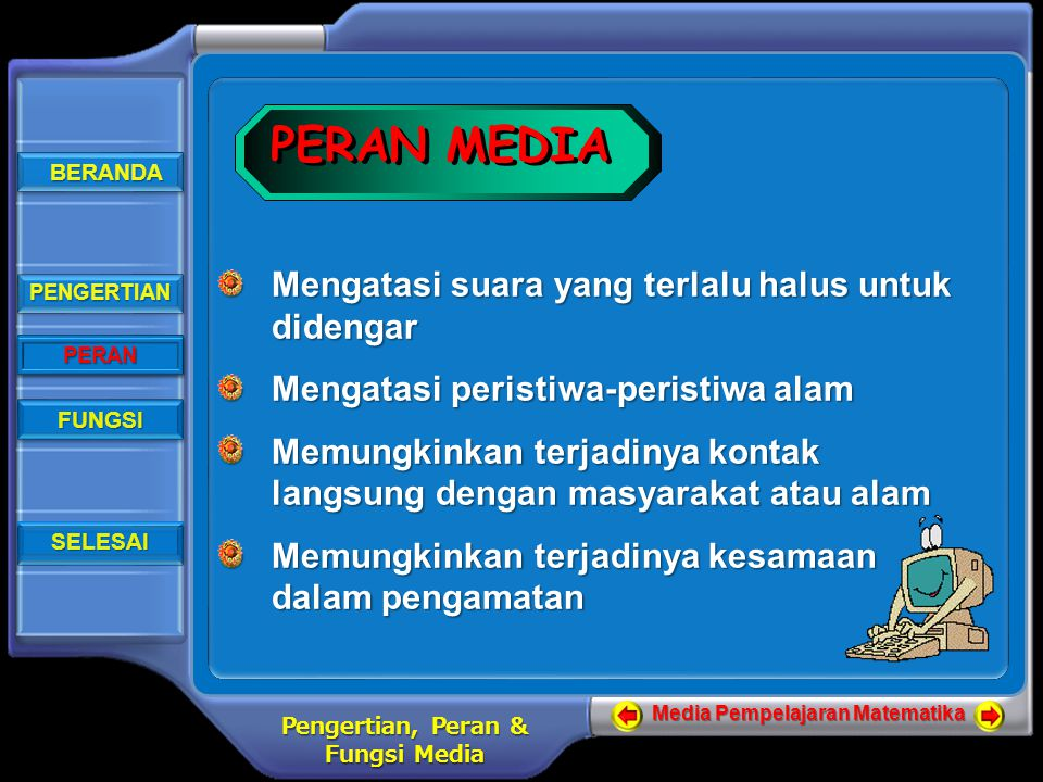 BERANDA BERANDA BERANDA BERANDA PENGERTIAN PERAN FUNGSI SELESAI Media Pempelajaran Matematika Pengertian, Peran & Fungsi Media FUNGSI MEDIA Sebagai alat bantu dalam proses penyampaian informasi FUNGSI