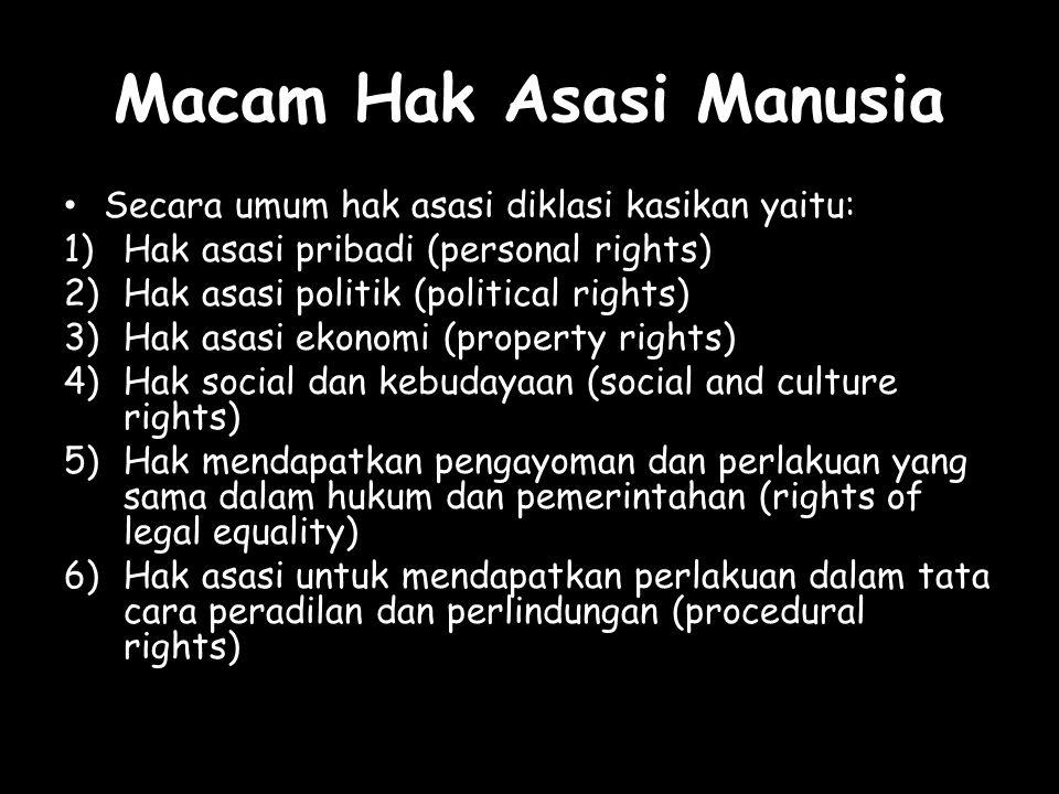 Macam Hak Asasi Manusia Secara umum hak asasi diklasi kasikan yaitu: 1)Hak asasi pribadi (personal rights) 2)Hak asasi politik (political rights) 3)Ha