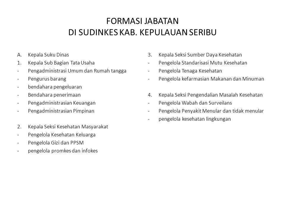 FORMASI JABATAN DI PUSKESMAS JFU A.Ka.Puskesmas Kecamatan B.Ka.