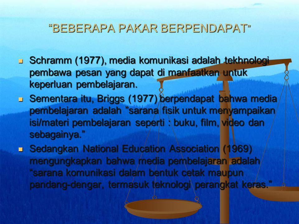 BEBERAPA PAKAR BERPENDAPAT Schramm (1977), media komunikasi adalah tekhnologi pembawa pesan yang dapat di manfaatkan untuk keperluan pembelajaran.
