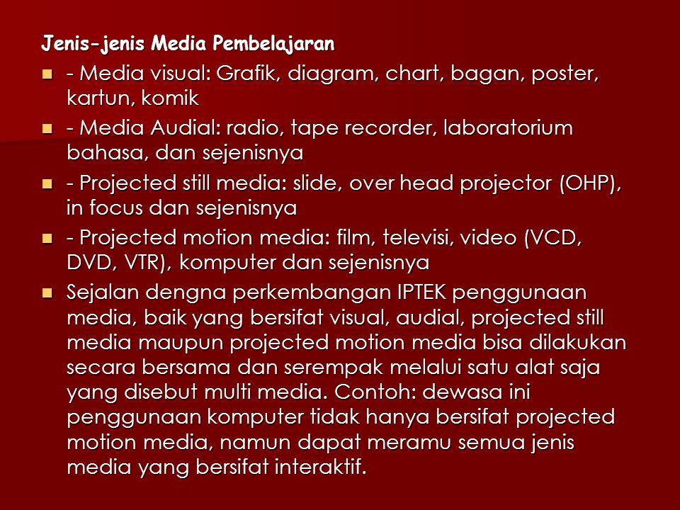Jenis-jenis Media Pembelajaran - Media visual: Grafik, diagram, chart, bagan, poster, kartun, komik - Media visual: Grafik, diagram, chart, bagan, poster, kartun, komik - Media Audial: radio, tape recorder, laboratorium bahasa, dan sejenisnya - Media Audial: radio, tape recorder, laboratorium bahasa, dan sejenisnya - Projected still media: slide, over head projector (OHP), in focus dan sejenisnya - Projected still media: slide, over head projector (OHP), in focus dan sejenisnya - Projected motion media: film, televisi, video (VCD, DVD, VTR), komputer dan sejenisnya - Projected motion media: film, televisi, video (VCD, DVD, VTR), komputer dan sejenisnya Sejalan dengna perkembangan IPTEK penggunaan media, baik yang bersifat visual, audial, projected still media maupun projected motion media bisa dilakukan secara bersama dan serempak melalui satu alat saja yang disebut multi media.