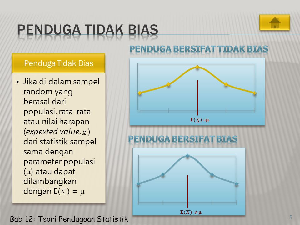 6 Penduga yang efisien adalah penduga yang tidak bias dan mempunyai varians terkecil (s x 2 ) dari penduga-penduga lainnya.