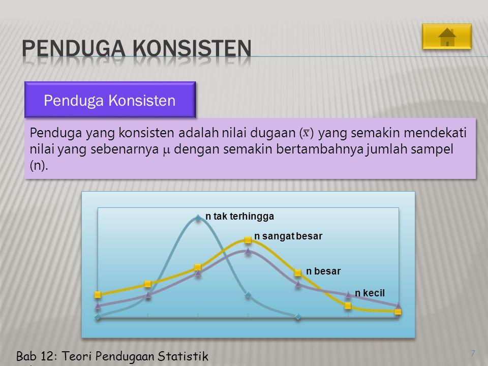 7 Penduga yang konsisten adalah nilai dugaan ( ) yang semakin mendekati nilai yang sebenarnya  dengan semakin bertambahnya jumlah sampel (n).
