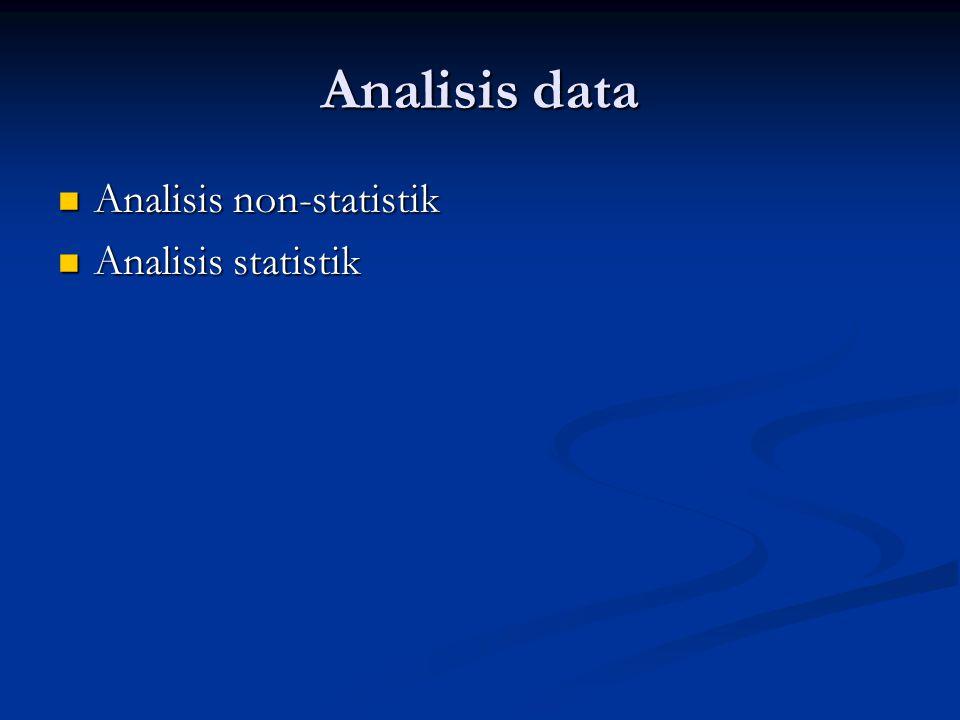 Analisis non-statistik data kualitatif, yaitu data-data yang tidak bisa di- angka-kan, analisis non-statistik lebih tepat digunakan data kualitatif, yaitu data-data yang tidak bisa di- angka-kan, analisis non-statistik lebih tepat digunakan Data kualitatif biasanya diolah atau dianalisis berdasarkan isinya (subtansinya).