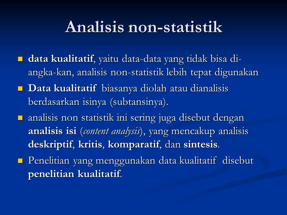 Analisis statistik untuk data kuantitatif, yaitu data yang berupa angka atau bisa diangkakan, analisis statistik lebih tepat digunakan untuk data kuantitatif, yaitu data yang berupa angka atau bisa diangkakan, analisis statistik lebih tepat digunakan statistik deskriptif dan statistik inferensial statistik deskriptif dan statistik inferensial Statistik deskriptif digunakan untuk membantu memaparkan (menggambarkan) keadaan yang sebenarnya (fakta) dari satu sampel penelitian  penelitian deskriptif Statistik deskriptif digunakan untuk membantu memaparkan (menggambarkan) keadaan yang sebenarnya (fakta) dari satu sampel penelitian  penelitian deskriptif Penelitian deskriptif tidak untuk menguji suatu hipotesis.