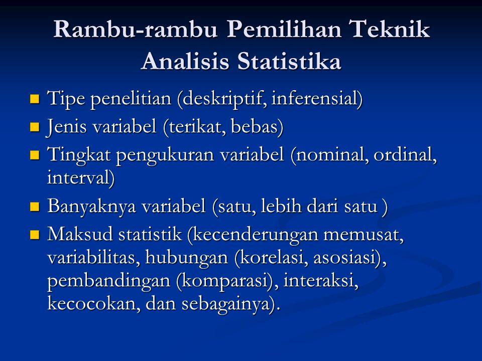 Rambu-rambu Pemilihan Teknik Analisis Statistika Tipe penelitian (deskriptif, inferensial) Tipe penelitian (deskriptif, inferensial) Jenis variabel (t