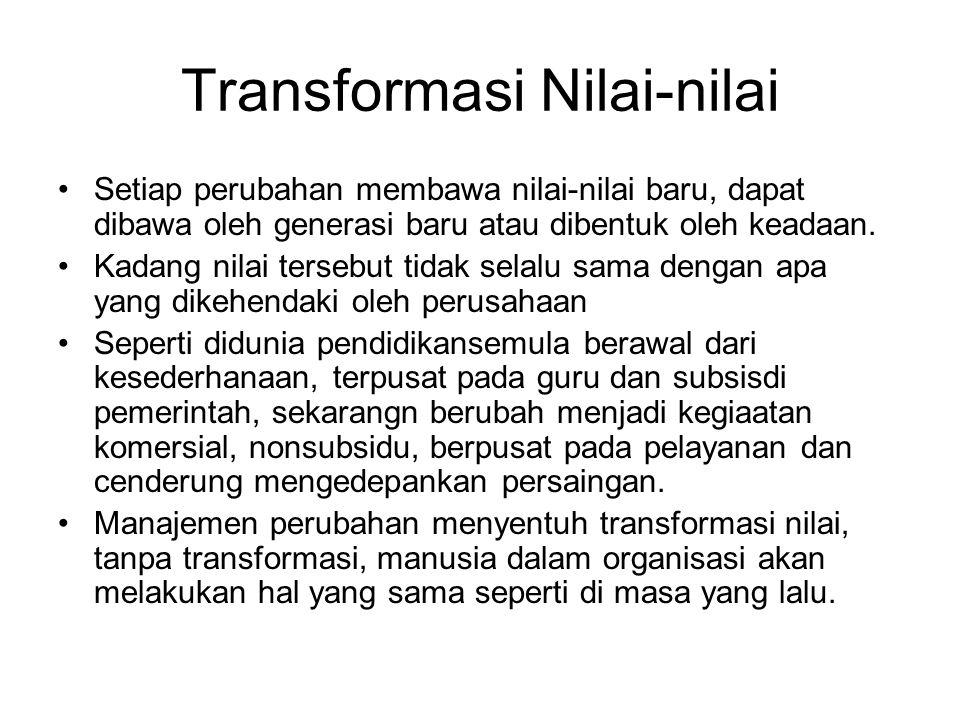 Transformasi Nilai-nilai Setiap perubahan membawa nilai-nilai baru, dapat dibawa oleh generasi baru atau dibentuk oleh keadaan. Kadang nilai tersebut