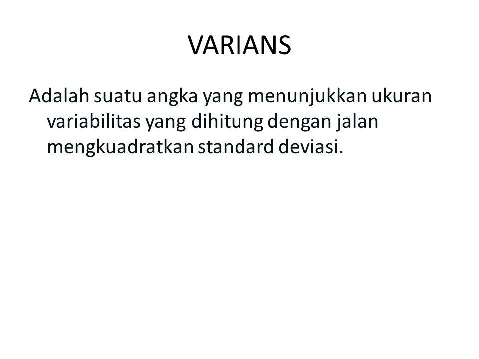 VARIANS Adalah suatu angka yang menunjukkan ukuran variabilitas yang dihitung dengan jalan mengkuadratkan standard deviasi.