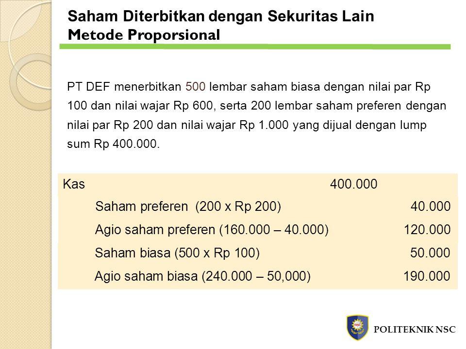 PT DEF menerbitkan 500 lembar saham biasa dengan nilai par Rp 100 dan nilai wajar Rp 600, serta 200 lembar saham preferen dengan nilai par Rp 200 dan