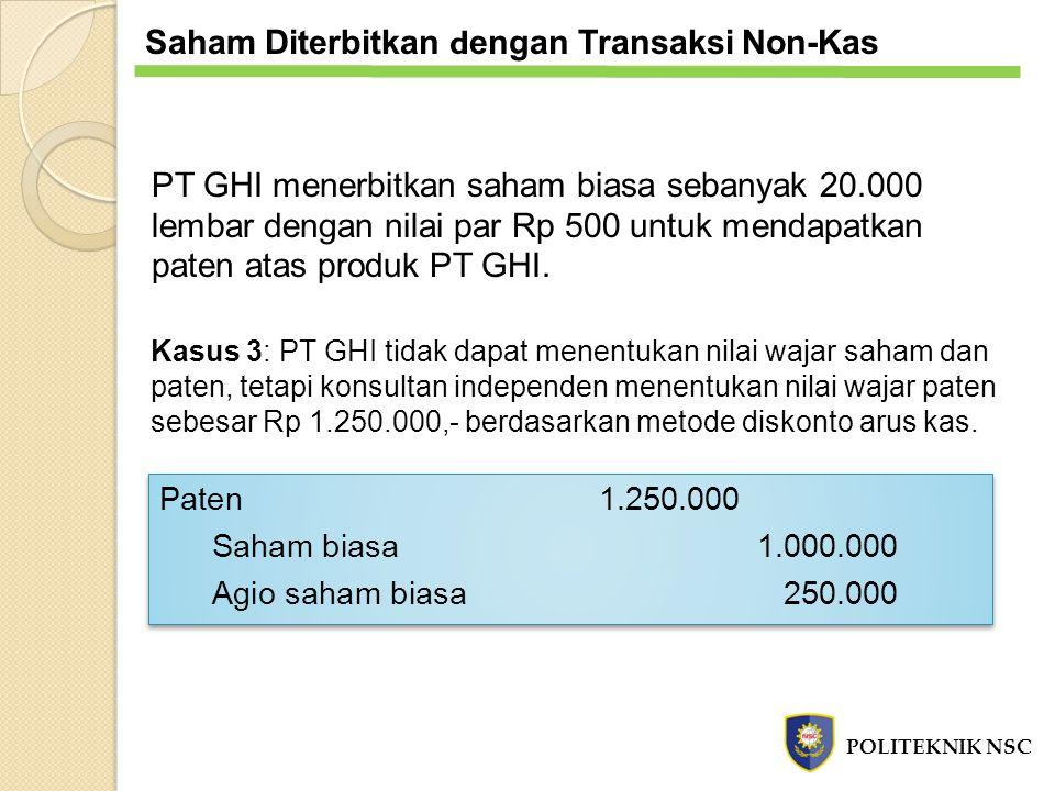 PT GHI menerbitkan saham biasa sebanyak 20.000 lembar dengan nilai par Rp 500 untuk mendapatkan paten atas produk PT GHI. Kasus 3: PT GHI tidak dapat