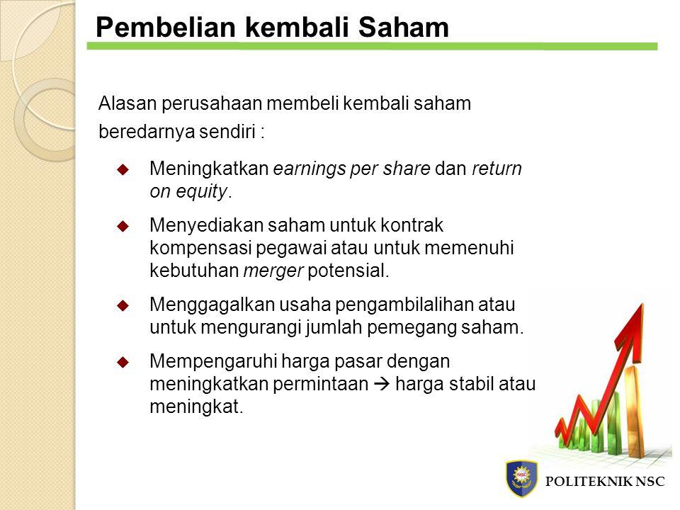 Pembelian kembali Saham Alasan perusahaan membeli kembali saham beredarnya sendiri :  Meningkatkan earnings per share dan return on equity.  Menyedi