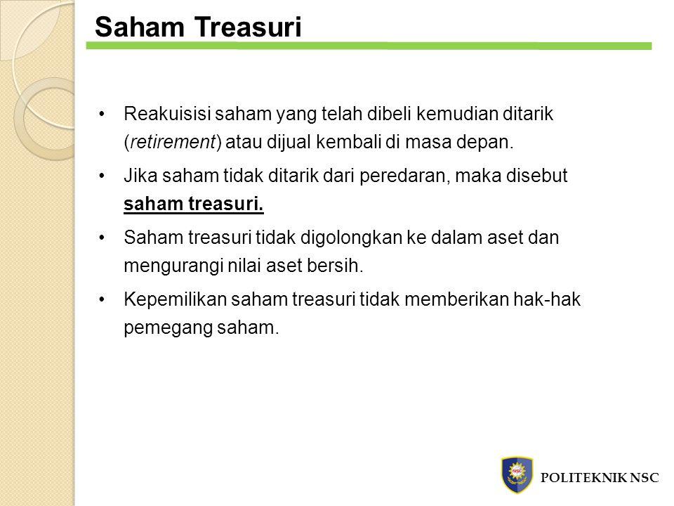 Saham Treasuri Reakuisisi saham yang telah dibeli kemudian ditarik (retirement) atau dijual kembali di masa depan. Jika saham tidak ditarik dari pered