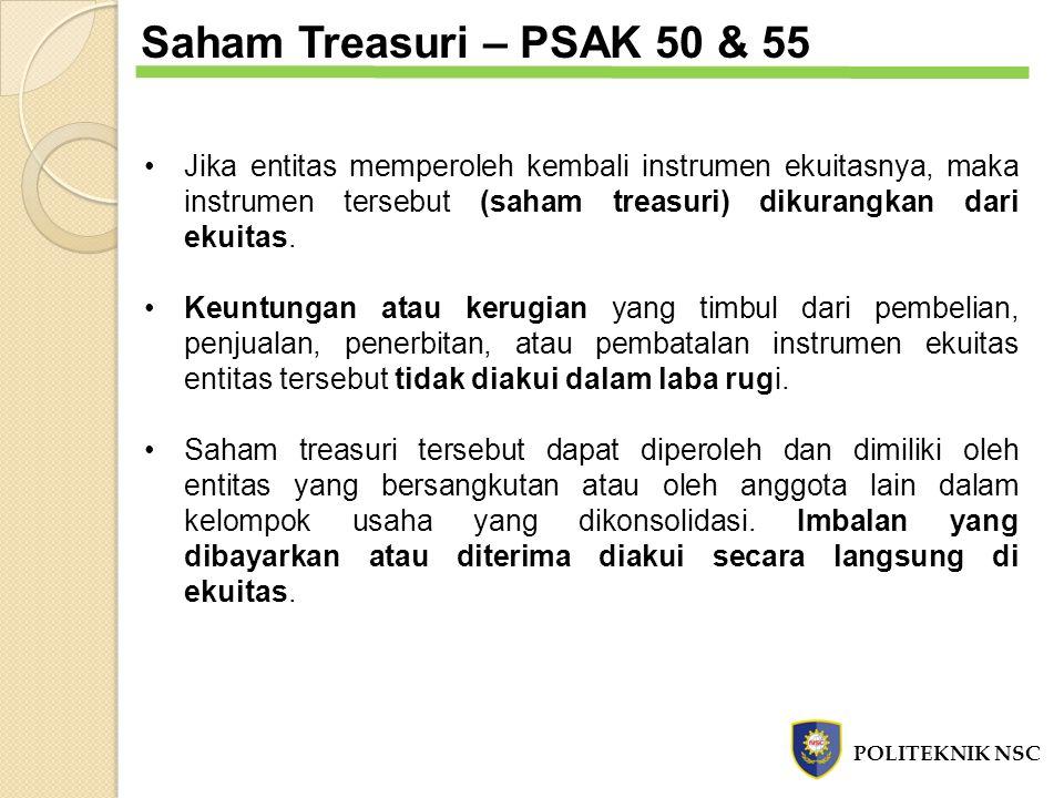 Saham Treasuri – PSAK 50 & 55 Jika entitas memperoleh kembali instrumen ekuitasnya, maka instrumen tersebut (saham treasuri) dikurangkan dari ekuitas.