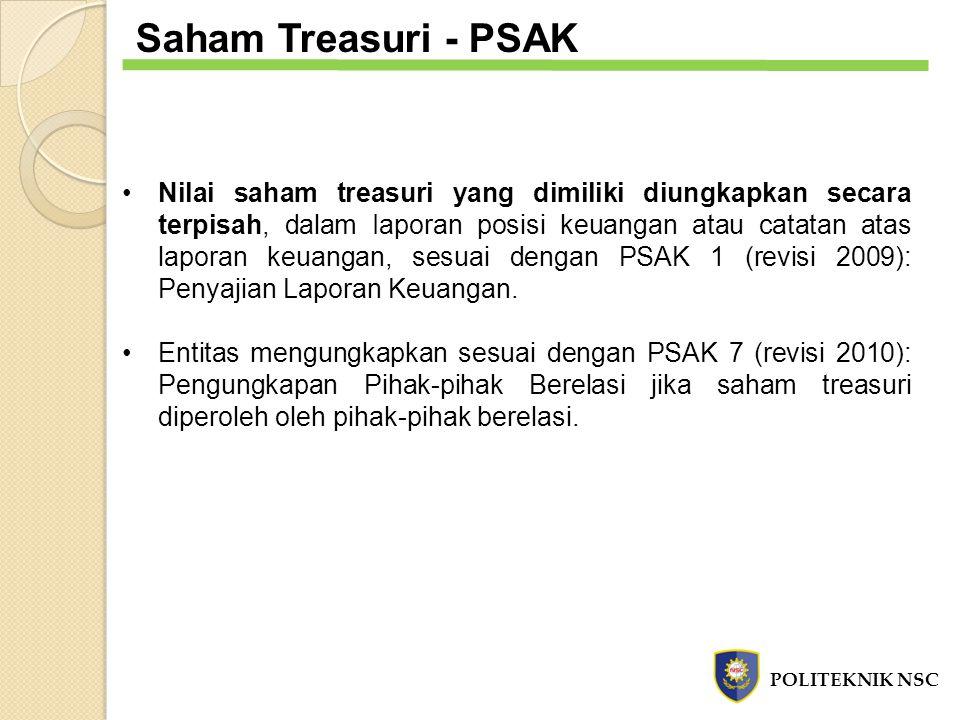 Saham Treasuri - PSAK Nilai saham treasuri yang dimiliki diungkapkan secara terpisah, dalam Iaporan posisi keuangan atau catatan atas laporan keuangan